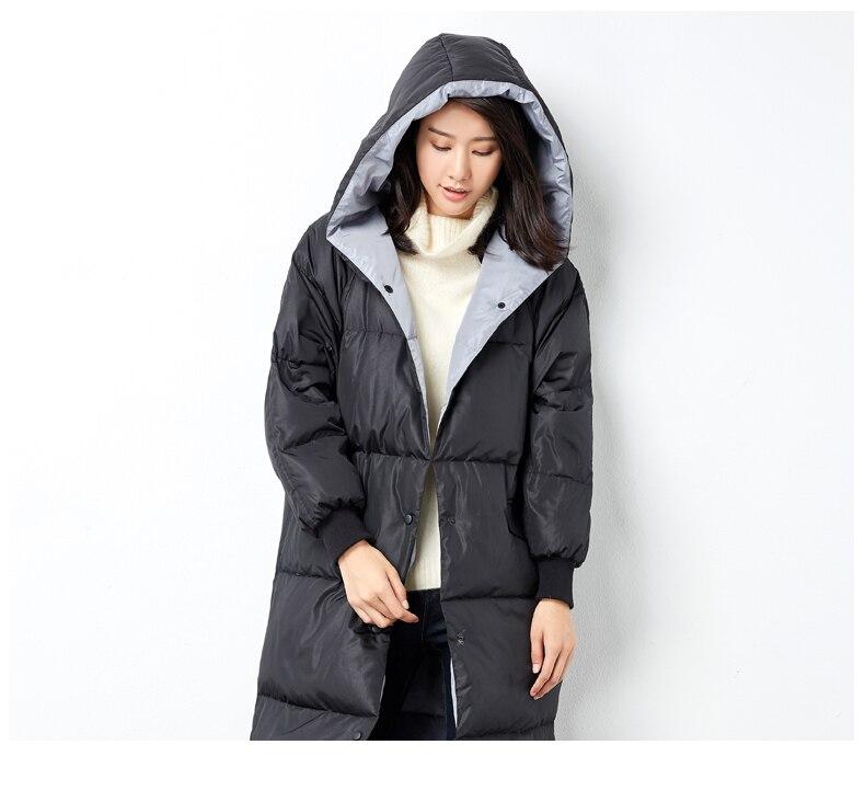 Long D'hiver Le À Vers Down Plus La Taille Capuchon Bas Noir Manteau Lâche Veste Manches Femmes YyIvmgb6f7