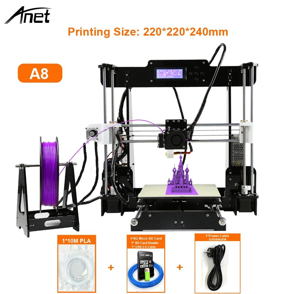 prusa i3 a8 3d принтер - Anet High Precision 3D Printer Auto Level & Normal A8 Impresora 3D DIY Kit imprimante 3d Acrylic Metal 8GB SD Card 10m Filament