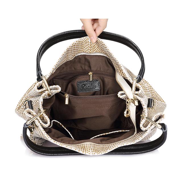 Luxury snake print beige hobo bag