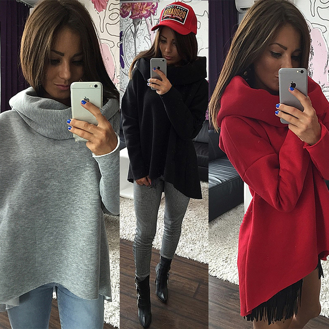 3296cb4c74487 Christmas Clothes 2018 Women Winter Hoodies Scarf Collar Long Sleeve Fashion  Casual Autumn Sweatshirts Rough Pullovers