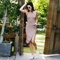 Free shipping Sexy Women Dress Summer Casual  Turtleneck Sleeveless Elegant Rib Pencil Dress Women Sexy Side Split Bodycon Dress