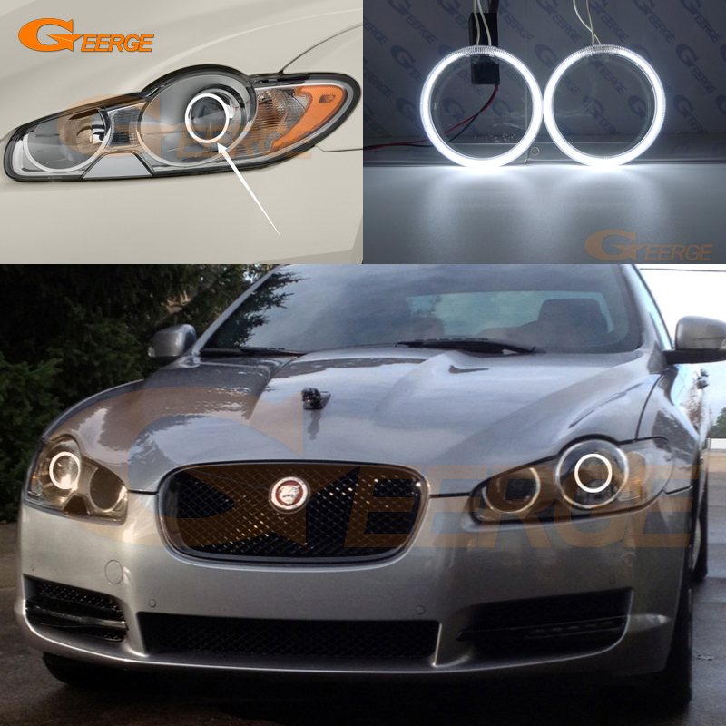 цена на For JAGUAR XF 2009 2010 2011 XENON HEADLIGHT Excellent CCFL Angel Eyes Ultra bright illumination CCFL Angel Eyes kit Halo Ring