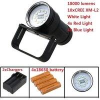 10 xCREE XM L2 белый свет + 4x красный свет + 4x синий свет светодиодный подводный видео Дайвинг фонарик лампа для охоты + 18650 батарея + зарядное устрой