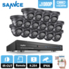 SANNCE 16CH 1080P DVR 2000TVL Security Camera IR Day Night Surveillance System