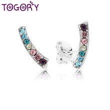 d110a0d85 TOGORY Hot Sale Silver Plated Colorful Arc Clear CZ Small Pandora Stud  Earrings for Women Brand