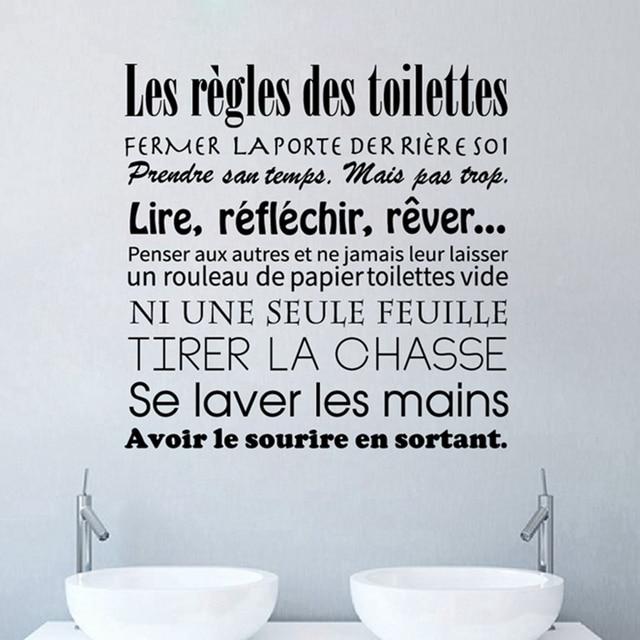 Aliexpress Buy French Bathroom Rules Wall Stickers French   Bathroom Rules Wall  Art