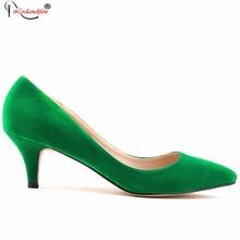 6 см на высоком каблуке Классические пикантные острый носок каблуки женщин Туфли-лодочки из флока весенние брендовые Свадебные туфли-лодочки зеленый синий и красный цвета желтый SMYBK-017