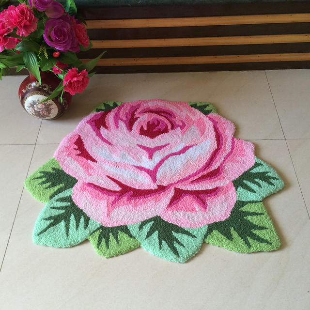 Yazi Vintage Rose Carpet Fl Handmade Embroidery Non Skid Porch Doormat Pink Purple Roses Shape