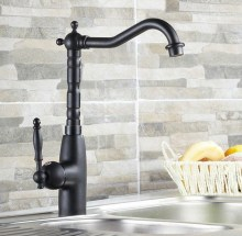 Black Oil Rubbed Brass Single Hole / Handle Kitchen Swivel Spout Vessel Basin Sink Faucet Hot Cold Mixer Water Tap anf060 цены