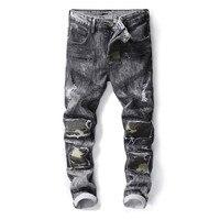 2018 Nieuw Designer Mannen Jeans Grey Kleur Slim Fit Ripped Jeans Mannen Balplein Merk Camouflage Patchwork Spliced Biker Jeans Homme