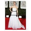 White Strapless Golden Globe Celebrity Organza Evening Dress of Jennifer Lawrence