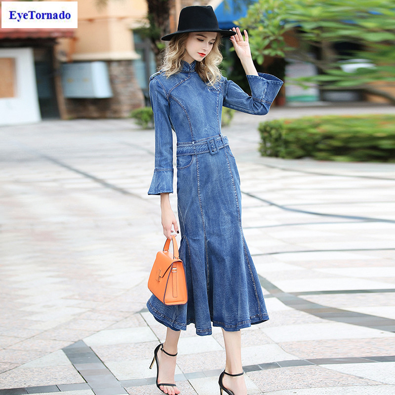 Women flare sleeve dress long sexy bodycon work party denim mermaid jeans dress autumn casual office ruffled maxi dresses 7134 artsu casual bodycon knitted dress slim long sleeve sexy split button midi dresses women autumn winter party vestidos asdr30434