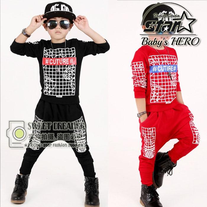 Spring Autumn Kids Hip Hop Clothing Boys Girls Teenager Street Dance Suit 2pcs Boys Girls Performance Children Sport Suits