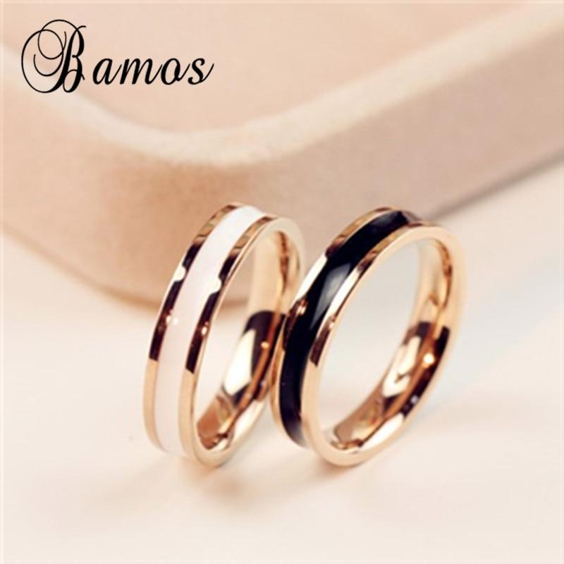 bamos female white black ring girls rose gold fille ring fashion 316l stainless steel ring promise engagement rings for women