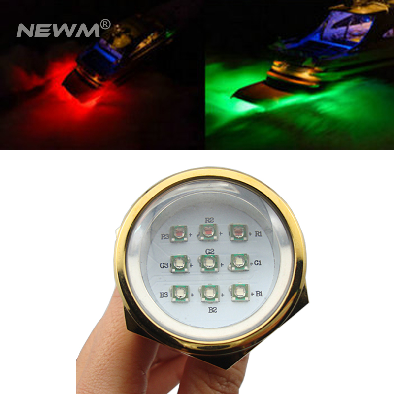 Waterproof IP68 RGB 27W Boat Drain Plug Light 9 LED Boat Light Underwater Boat Lamp polo car style protective plastic case for blackberry 8520 8530