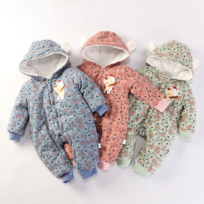 Baby Winter Warm Rompers Newborn Baby Cotton Thick Velvet Jumpsuits For Bebe Boys Girls Toddler Long Sleeve Overall Clothes