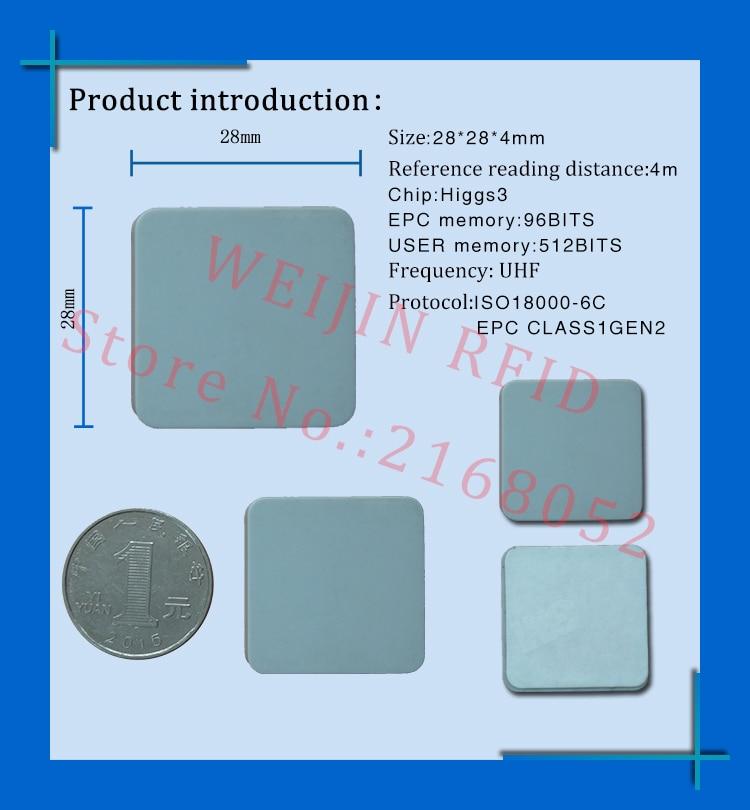 Uhf Rfid Metal Tag 915m 868m Alien Higgs3 Epcc1g2 6c Casting Fixture Tool 28*28*4mm Square Ceramics Smart Card Passive Rfid Tags Access Control Cards