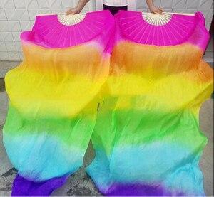Image 2 - Nieuwe Collectie Hot Verkopen Rainbow Bellydance Zijde Fan Veils Hand Dye Levendige Licht Fan Sluier Pairs Gradiënt 120Cm 180cm Professionele