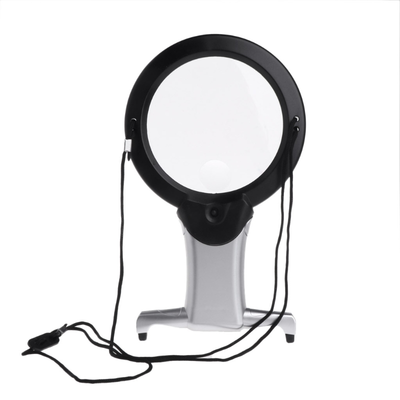 Shanwen Magnifier 2X6X 2-in-1 Hands-free Reading Magnifying Glass w Light Desk Lamp Tool
