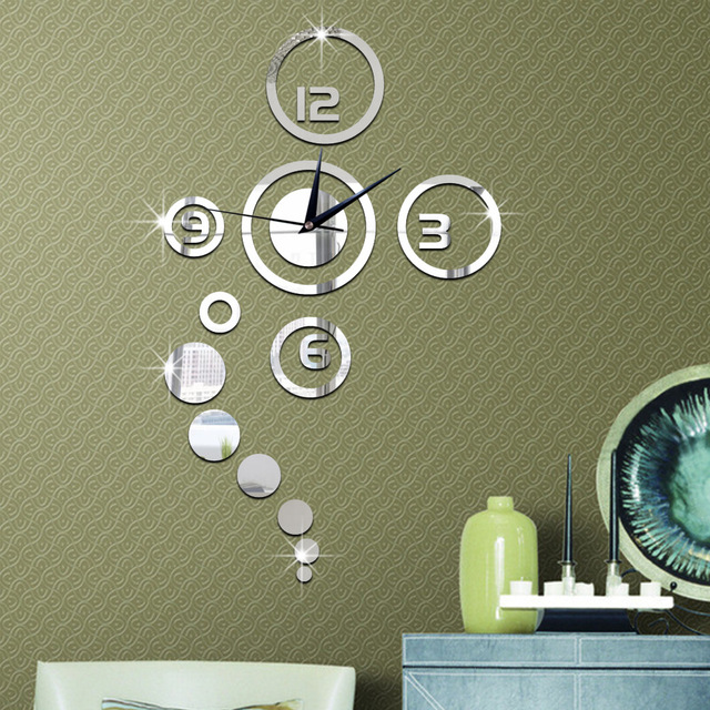 1Set Hot Fashion DIY Home Decoration Mirror Surface Of The Mirror Wall  Stickers Clock Living Room
