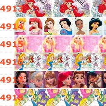 10 ярдов-разные размеры-мультяшная лента с принцессами напечатанная лента