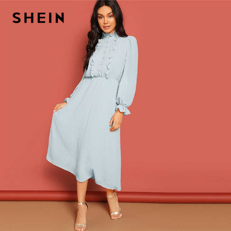 3ecb58f8a0 SHEIN Lace and Ruffle Trim Button Front Jacquard Dress Women Casual 2019  Summer Morden Lady Stand
