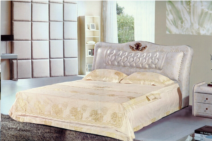 цена на High quality factory price royal large king size leather soft bed bedroom wedding furniture soft bed 1686