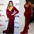 Dac2456 frete grátis Oscar partido do vinho vermelho de veludo veludo de manga comprida da sereia vestidos celebridade