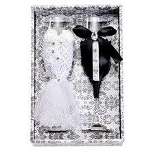 2 шт./компл. креативный подарок для невесты и жениха Черный и белый Dresschampagne флейты Свадебные бокалы набор чашки тостов Кубок