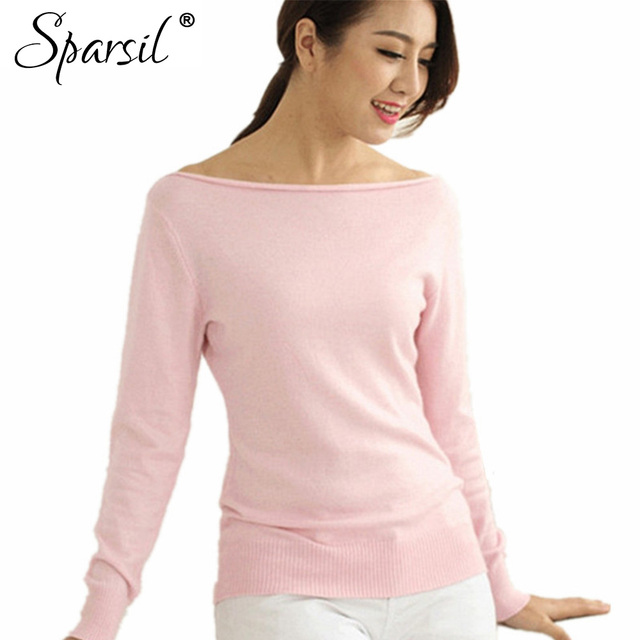Sparsil Women Winter Cashmere Blend Sweater Knitted Sweaters Long Sleeve Pullovers Female Slash Neck Sweater High Quality