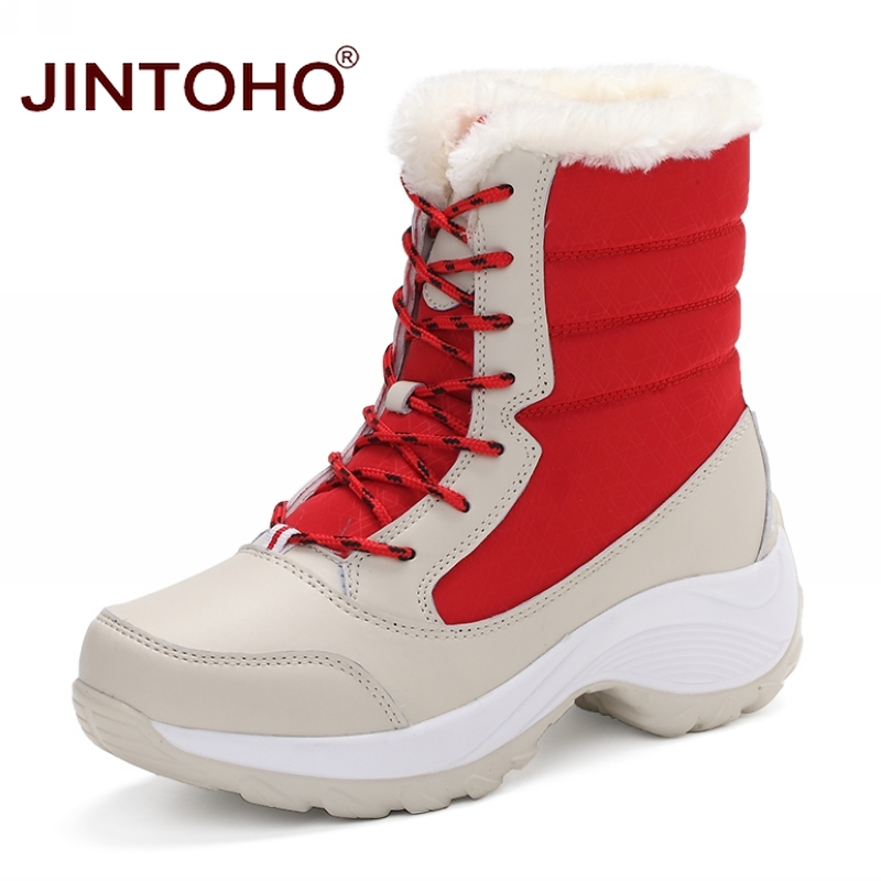 JINTOHO Big Size Winter Women Snow Boots Fashion Winter Women Shoes Autumn Female Boots Mid-Calf Platform Boots 2017 Woman Shoes