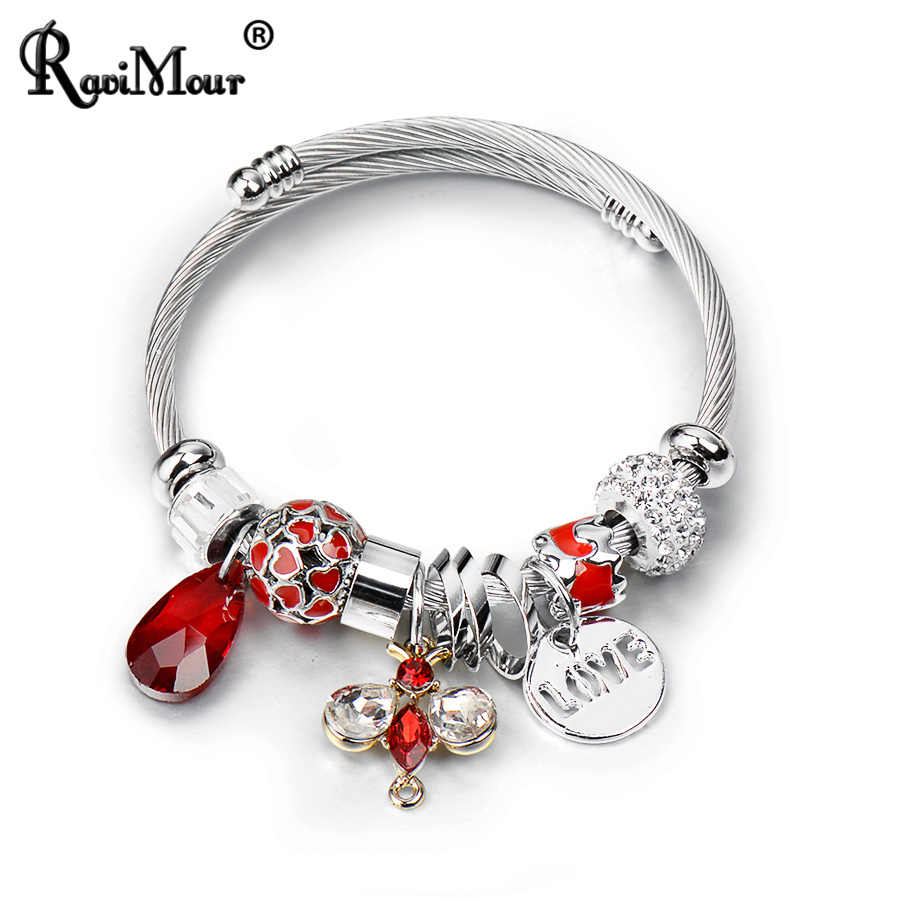 RAVIMOUR Bangles for Women Hollow LOVE Letter Bracelets Femme Trendy Crystal Butteryfly Hearts Ball Stainless Steel Jewelry 2018