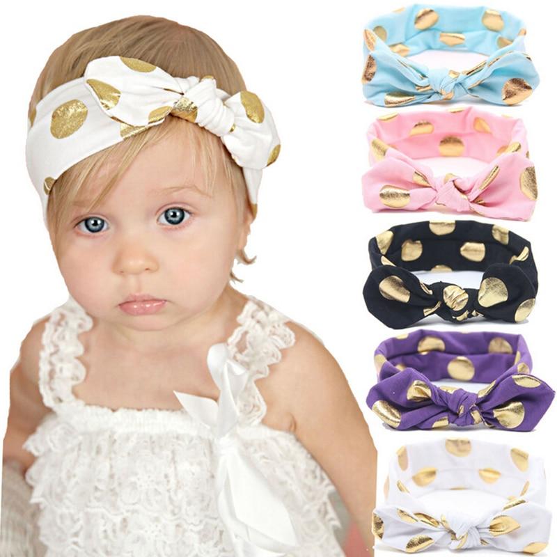 1 Pcs Gold Tupfen Neugeborenen Baumwolle Stirnband Mädchen Verknotet Bogen Kopf Wraps Sommer Haar Bands Stirnband Kinder Haar Zubehör Modische Muster