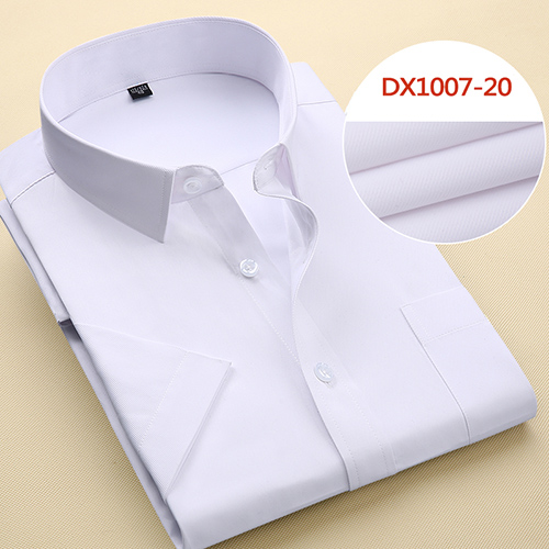 Summer Men's Short-sleeve White Basic Dress Shirt with Single Chest Pocket Standard-fit Business Formal Solid/twill/plain Shirts 14