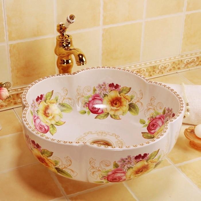 Flower Shape Countertop Bathroom Ceramic Cabinet Basin