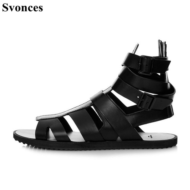 07f83748e264 Italian Style Mens Sandals Gladiator Genuine Leather Ankle Booties Flats  Strappy Summer Casual Rome Beach Sandals For Men