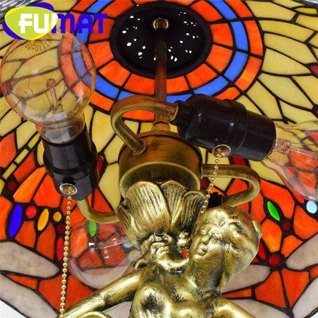 FUMAT Tiffany Европейский стиль барок настольные лампы витраж настольная лампа сплав виноград Стрекоза богиня светодиодный Роскошные Настольные светильники