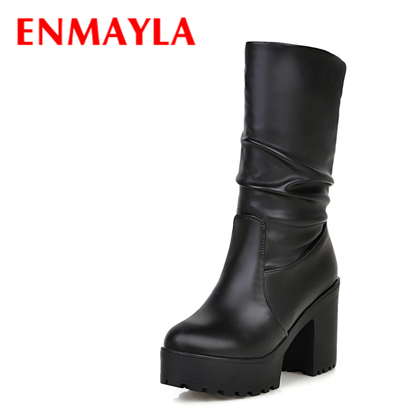ENMAYLA Autumn Winter Platform Punk Shoes Women High Heels Knight Boots Round Toe Fashion Slip-on Pleated Half Boots Black White enmayla lace up mew ankle boots for women high heels wedges size 34 39 round toe autumn and winter boots platform shoes riding
