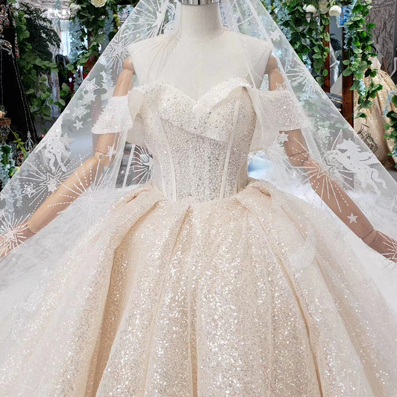 Image 5 - HTL432 shiny wedding dresses with glitter off the shoulder special neck sparckly wedding gowns 2019 new fashion robe de mariee-in Wedding Dresses from Weddings & Events