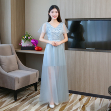цены V-neck  Bridesmaid Dresses Short Sleeves  Wedding Dress Party  Satin Dress  Blue Grey Colour