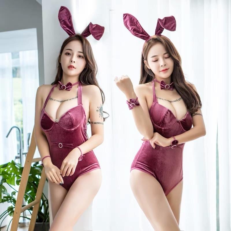 Sexy Retro Velvet Bunny Anime Costumes Halloween Cosplay Rabbit girl jumpsuit Party Fancy Dress Sexy Nightclub Clubwear Uniform