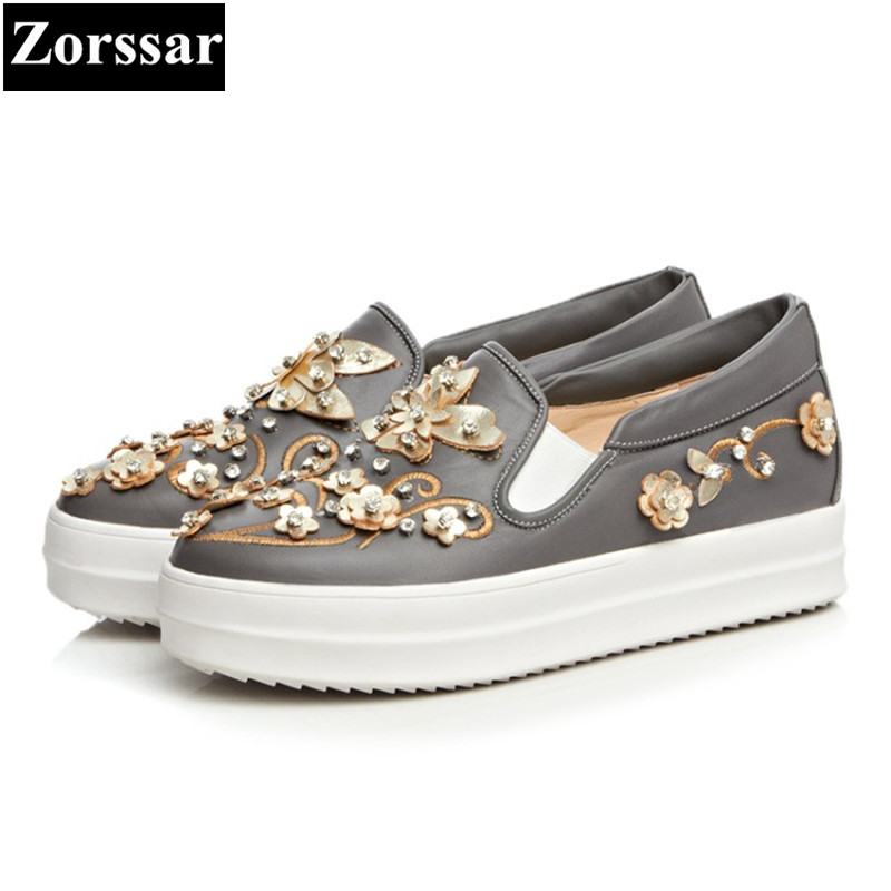 {Zorssar} 2017 New Fashion Flowers Genuine leather Women Flats Casual shoes Womens Platform loafers Slip On Female Flat shoes siketu sweet bowknot flat shoes soft bottom casual shallow mouth purple pink suede flats slip on loafers for women size 35 40