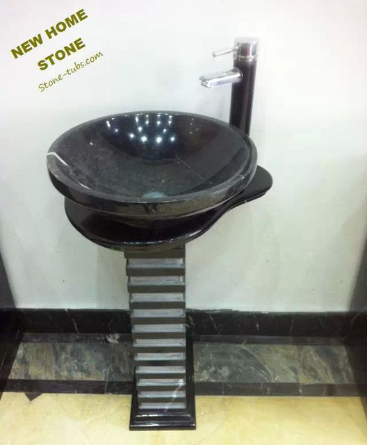 Black Stone Pedestal Sink Wave Pedestal Stone Carved Sink