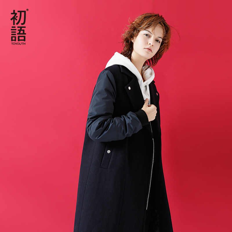 Toyouth Wool Coat 2019 Winter Women Solid Color Patchwork Tailored Collar Long Woolen Overcoat Female