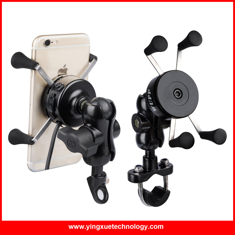 Motorcycle Cell <font><b>Phone</b></font> Grip Clamp <font><b>Stand</b></font> Holder <font><b>Mount</b></font> Bracket with USB Charger <font><b>Socket</b></font> for iPhone Samsung and Other Smartphones