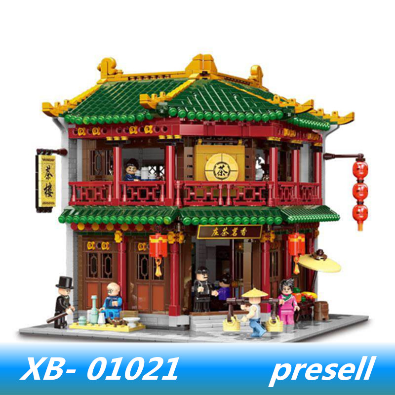 XINGBAO 01021 3033Pcs Chinese Building Series The Toon Tea House Set lepin Building Blocks Brick Kid Toy Birthday Christmas Gift xingbao 01102 new zhong hua street series the teahouse library cloth house wangjiang tower set building blocks brick christmas