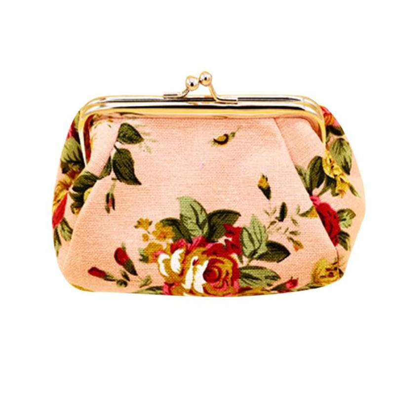 Brand new Lovely flower print Canvas Hasp Coin Purses Small for Women Wallets Clutch Bag womens purse 1pcs Gift