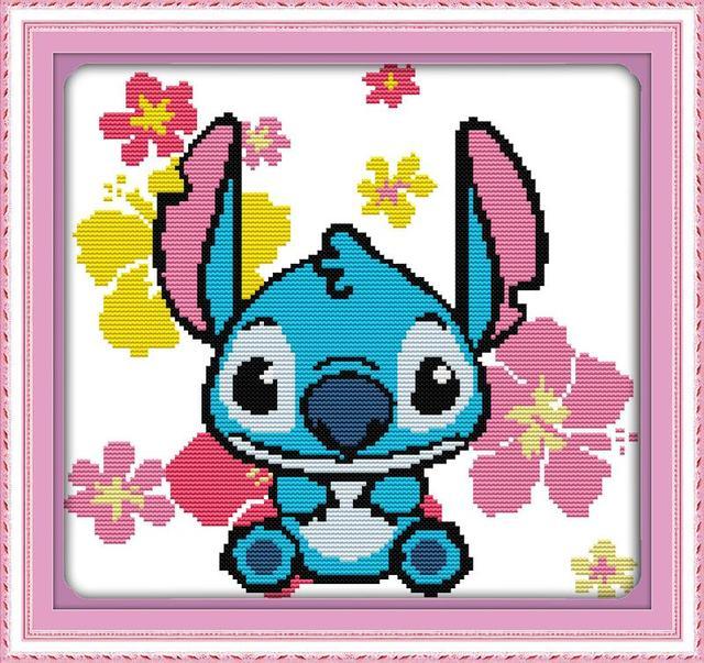 New Diy Needlework Lilo Stitch Blue Fairy Dmc Counted Cross Stitch