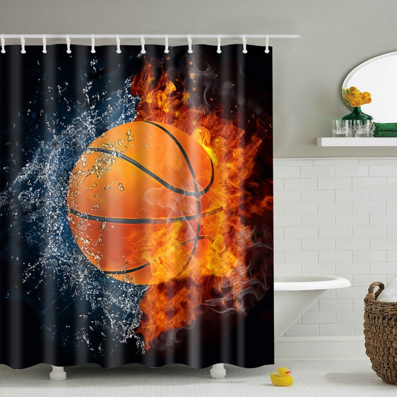 Polyester Shower Curtain Bathroom Decor Home Decorations Tattoo /  Basketball/Skeleton Flower / Soccer In Shower Curtains From Home U0026 Garden  On ...