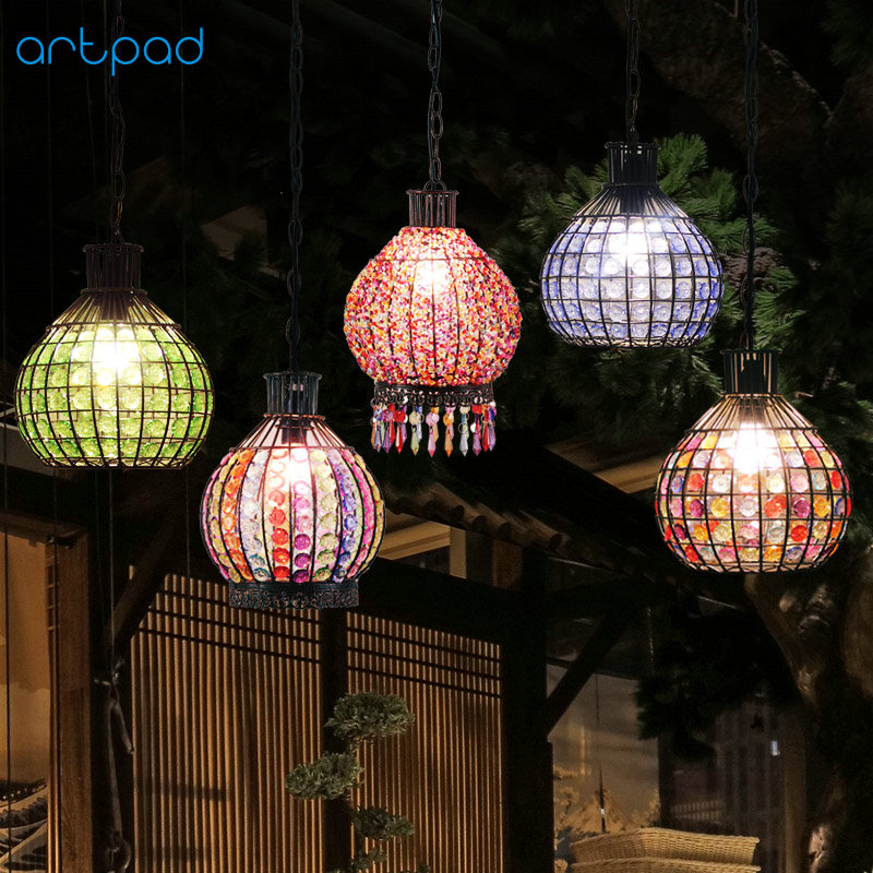Artpad Handmade American Retro Lantern Lamp E12/E14 Metal Bohemia Style Classic LED Lantern Pendant Light For Bar Coffee Hotel